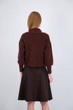 DOUBLE BREASTED CARDI-BROWN