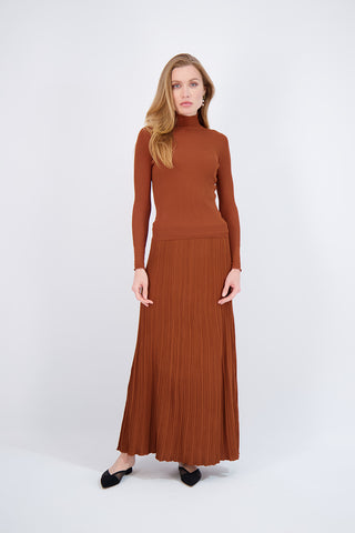 KNIT MAXI SKIRT-CINNAMON