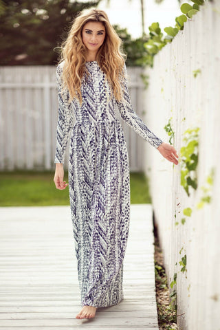 Splattered Maxi with Waist- White and Navy