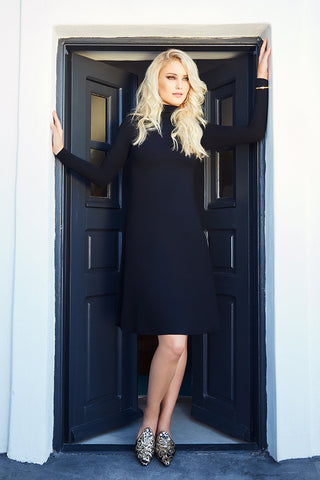 Turtleneck Swing Midi Dress