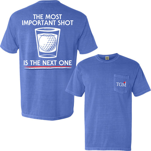 Most Important Shot - Short Sleeve Pocket T-shirt - NeonBlue