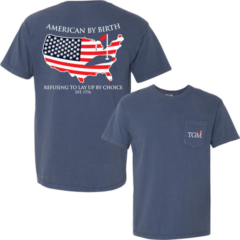 American by Birth - Short Sleeve - Navy Pocket T-Shirt