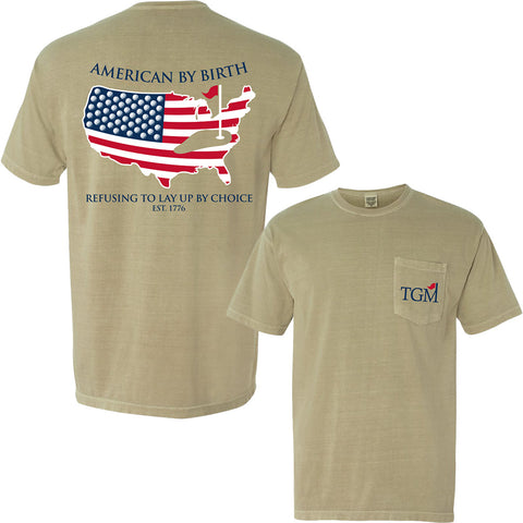 NEW! American by Birth - Short Sleeve - Khaki Pocket T-Shirt