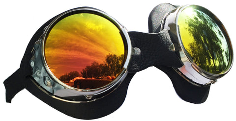 Classic Round Lens Moto Goggles Motorcycle Interchangeable Lenses
