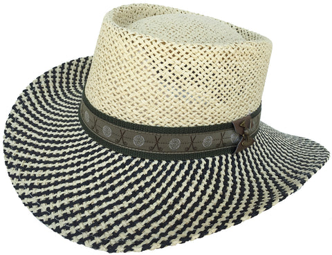 Straw Gambler Big Brim 2 Tone Golf Hat