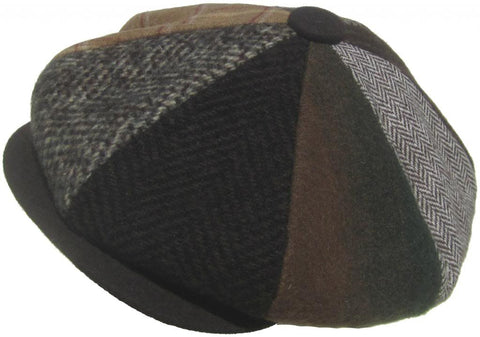Broner Made in USA Wool Patchwork 8/4 Gatsby Cap Woolrich Newsboy Hat
