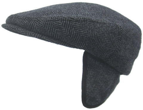 Headchange Made in USA Herringbone Ear Flap Ivy Newsboy Cap