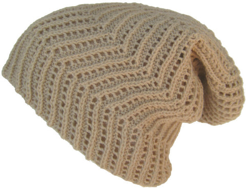 Ribbed Slouch Knit Beanie Reverse-able Oversize Cap