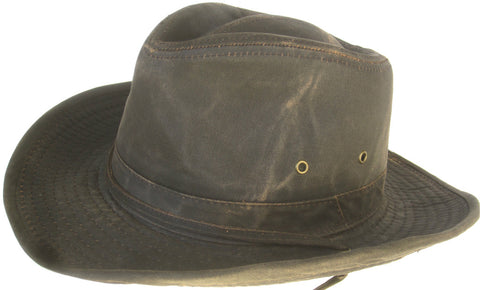 Broner Distressed Waxed Cotton Western Outback Hat