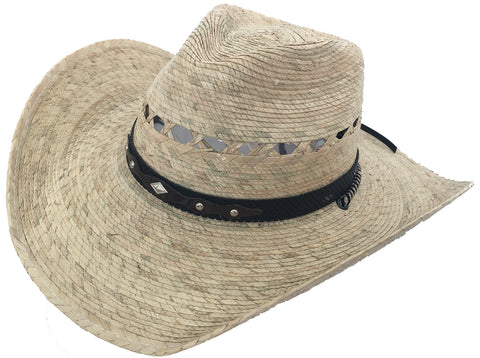 Mexican Moreno Palm C Crown Cowboy Hat Big Brim