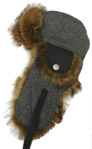 Harricana Recycled Raccoon Fur Wool Herrringbone Trooper Hat Deluxe Aviator