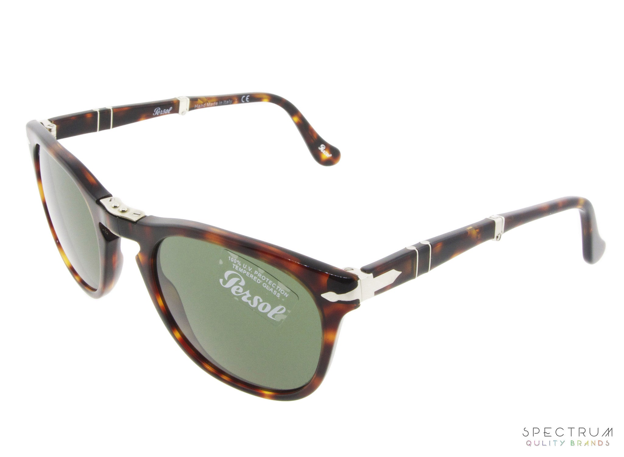 bed4014108 ... Persol Sunglasses Folding 3028S 24 31 Havana with Green Lenses ...