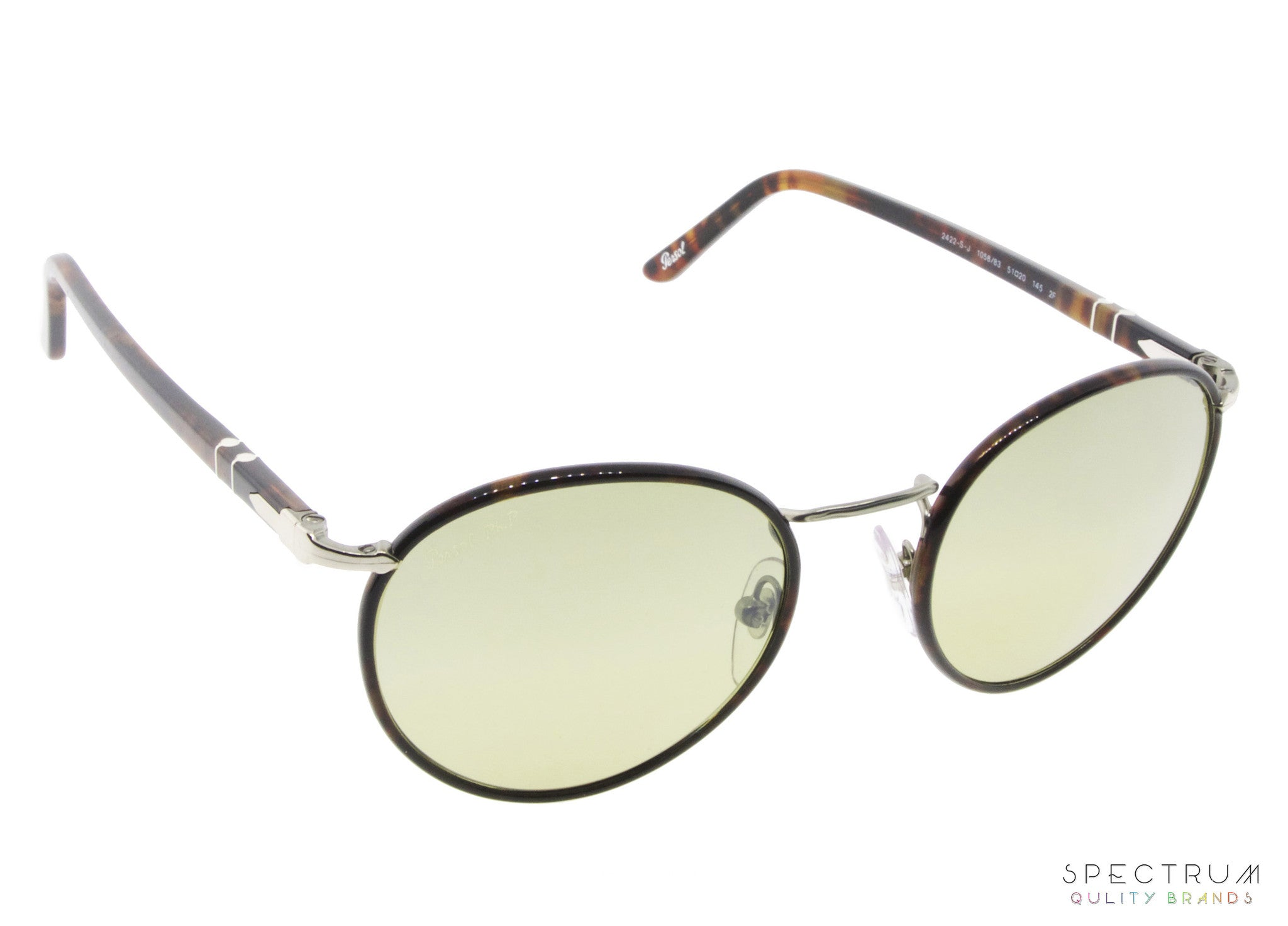 5ca9434e411 Persol Sunglasses 2422S 1058 83 Caffe with Photo - Polarized Green Faded Lenses  Size 49