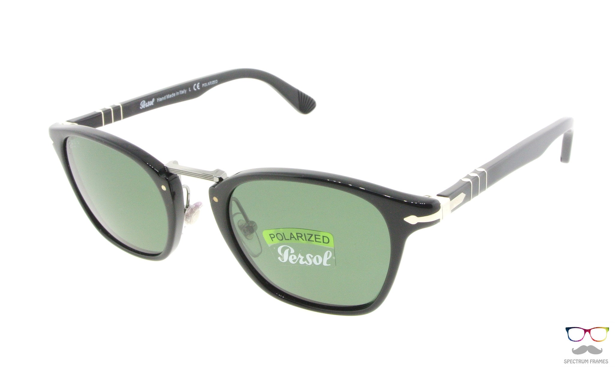 Persol Sunglasses 3110S 95/58 Black with Green Polarized Lenses Size ...