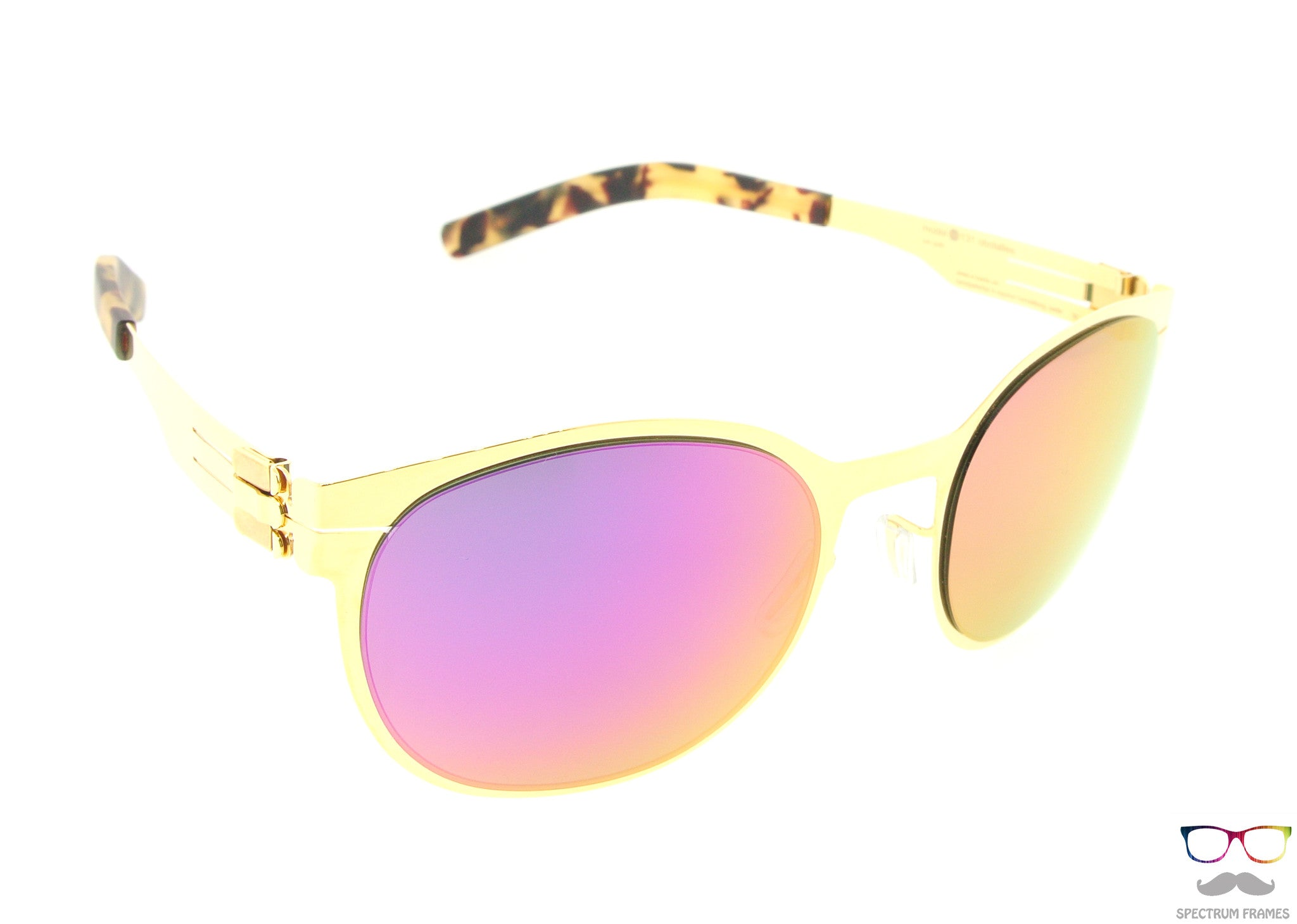 8cfd1bc3b937 ... ic! berlin Sunglasses 131 Obstallee Gold with Magneta Mirrored Lenses  ...