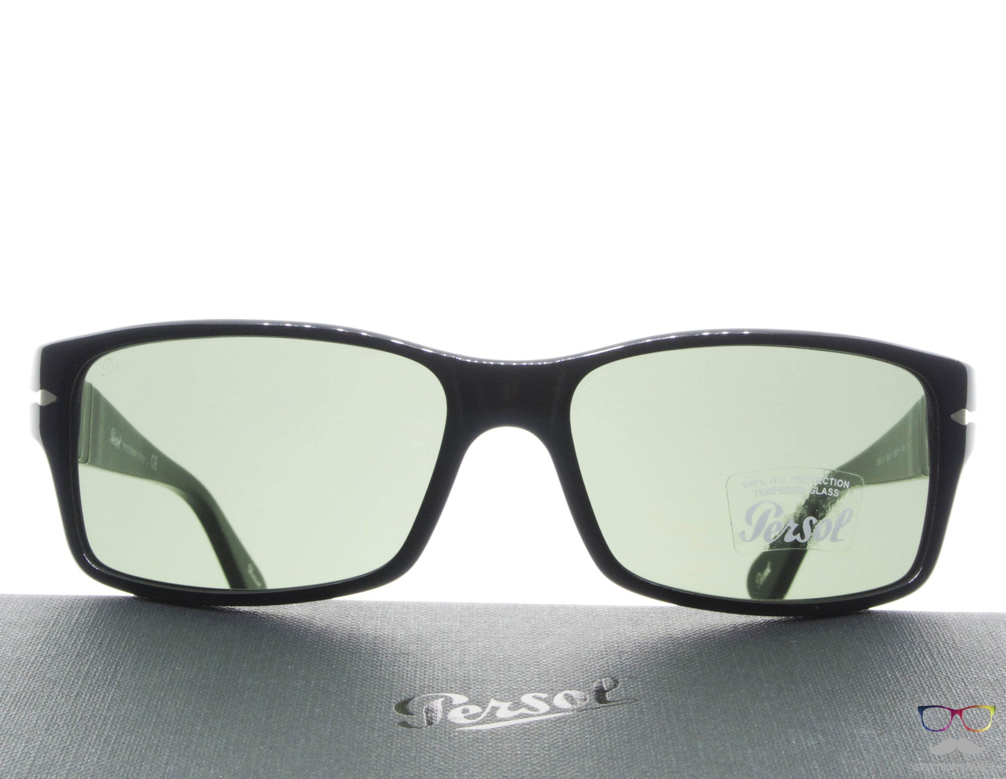 95a7a1ca47 Persol Sunglasses 2803S 95 31 Black with Green Lenses Size 58