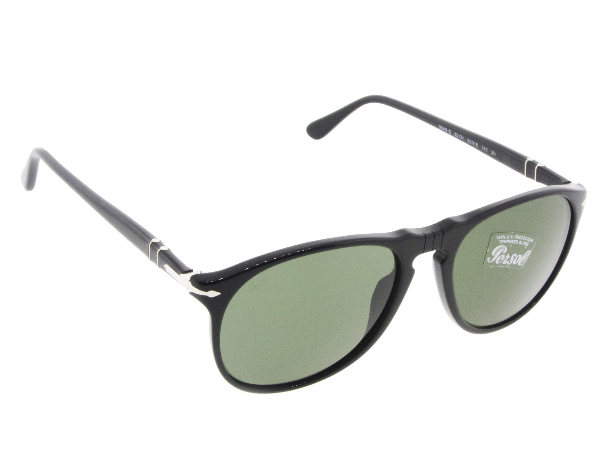 8676b9d9f1 ... Persol Sunglasses 9649S 95 31 Black with Green Lenses Size 55 ...
