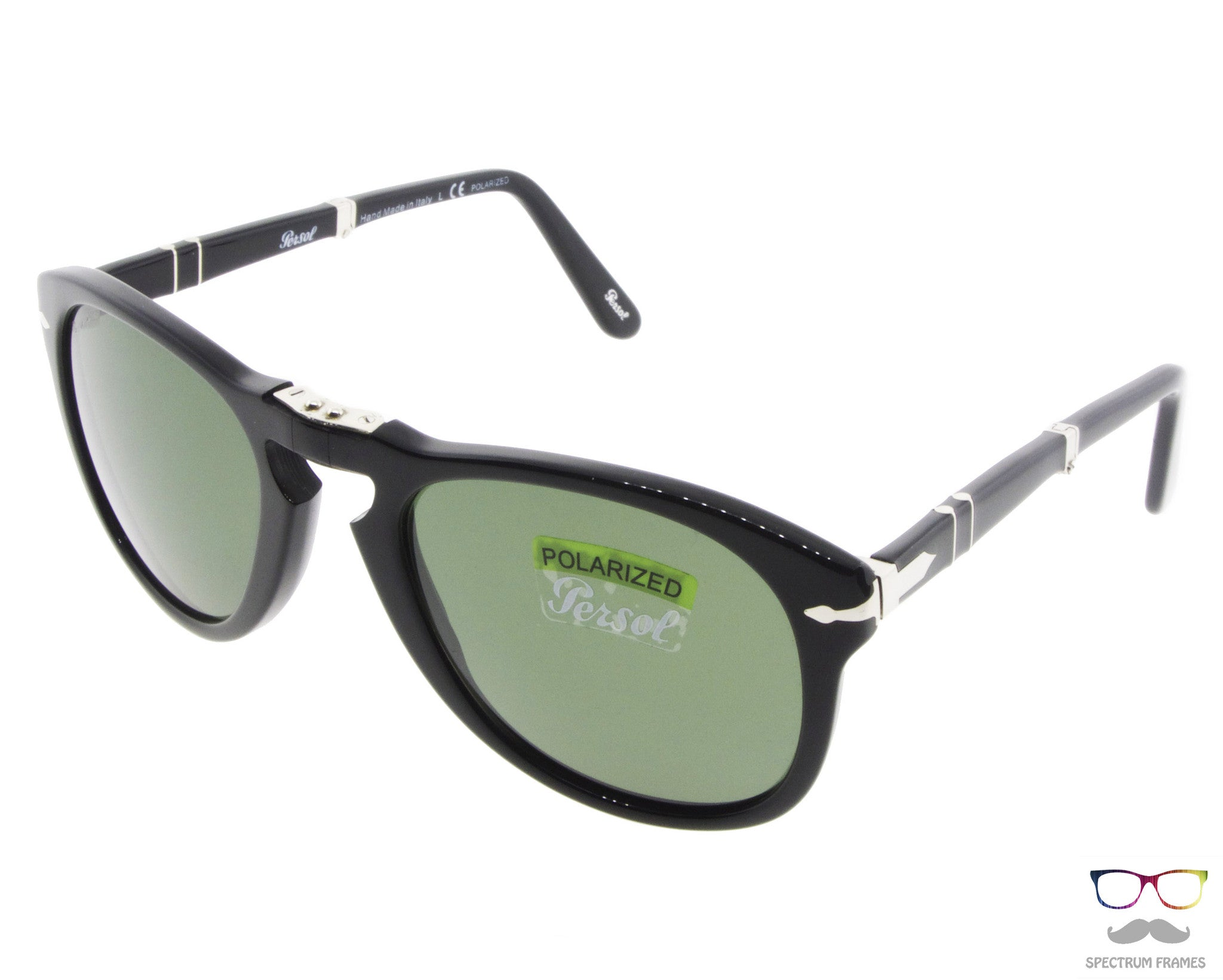 182940f2e1 ... Persol Folding Sunglasses 714 95 58 Black with Green Polarized Lenses  Size 52 ...