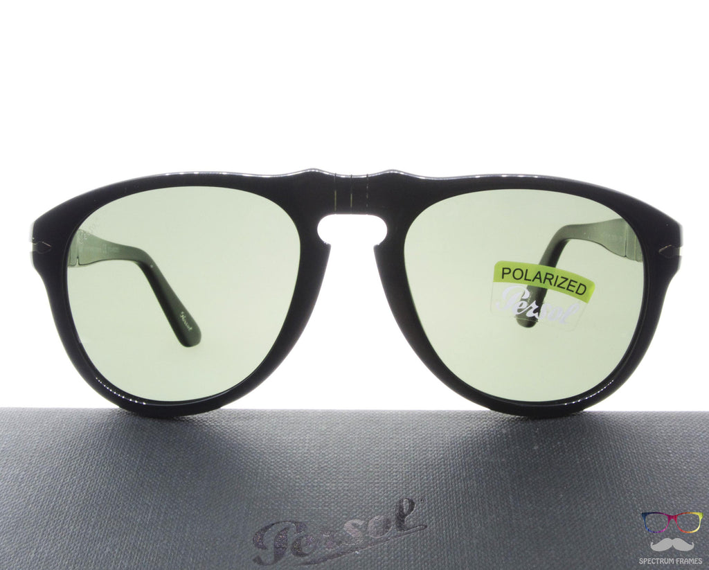 7d30a56a40b Persol Sunglasses 0649 95 58 Black with Green Polarized Lenses Size 56