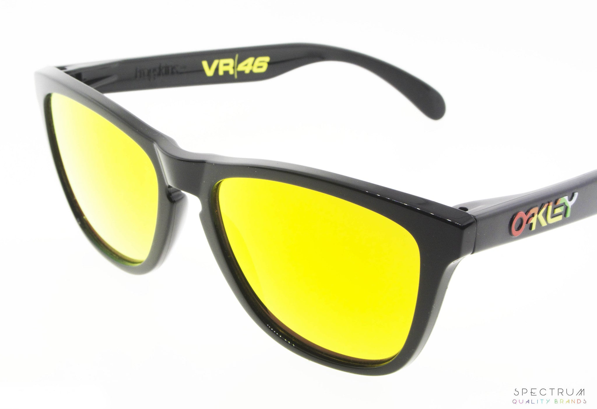 black and yellow oakley sunglasses r7ig  Oakley Sunglasses Frogskins OO9013 24-325 Polished Black with Fire  Iridium Lenses
