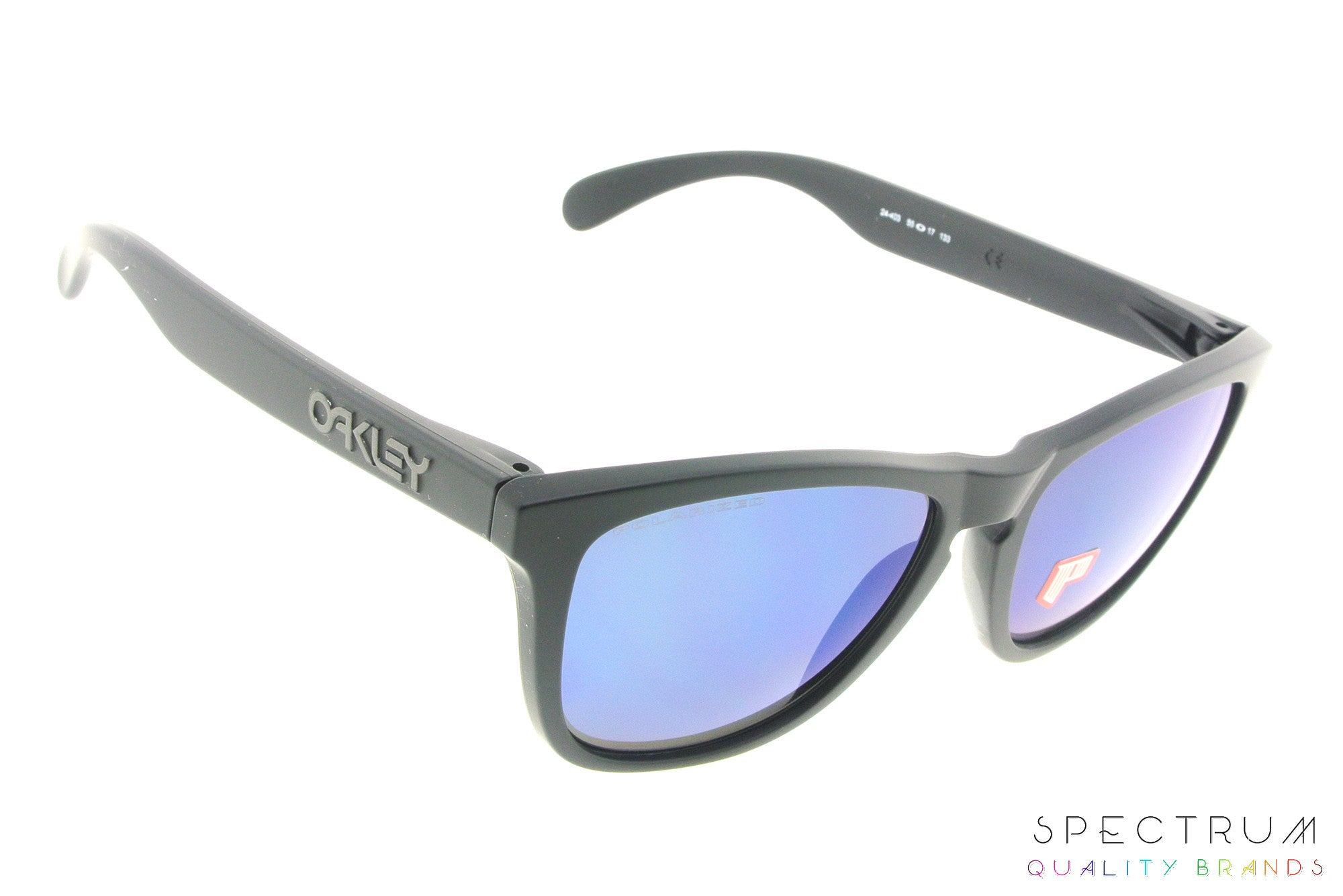 d754883f26 ... Oakley Polarized Sunglasses Frogskins OO9013 24-403 Matte Black with Ice  Iridium Lenses ...