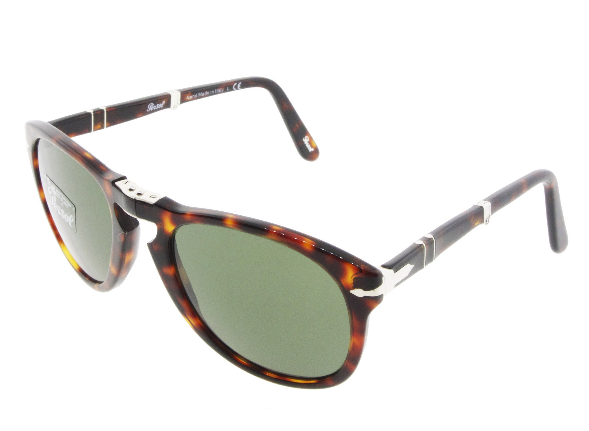 2decdd26bc Persol Folding Sunglasses 714 24 31 Havana with Green Size 52