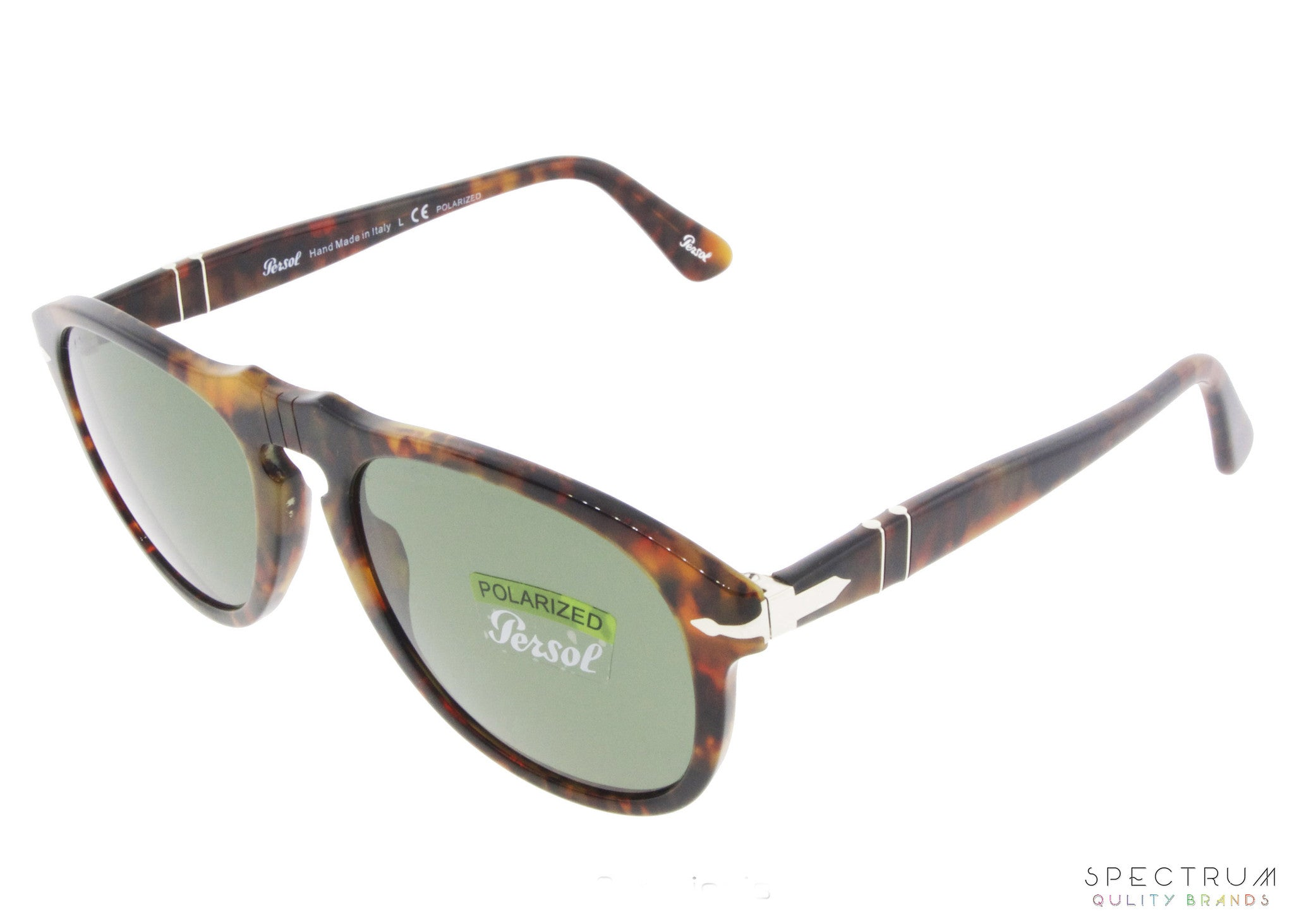 9bee3ec6db ... Persol Sunglasses 0649 108 58 Caffe with Polarized Green Lenses Size 52  ...