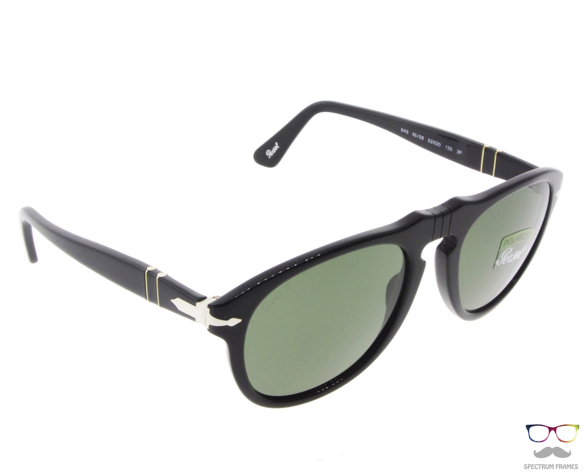 f27fc068db ... Persol Sunglasses 0649 95 58 Black with Green Polarized Lenses Size 52  ...