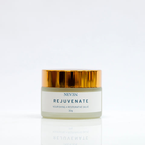 Rejuvenate healing salve with organic lavender, rose geranium and frankincense essential oils