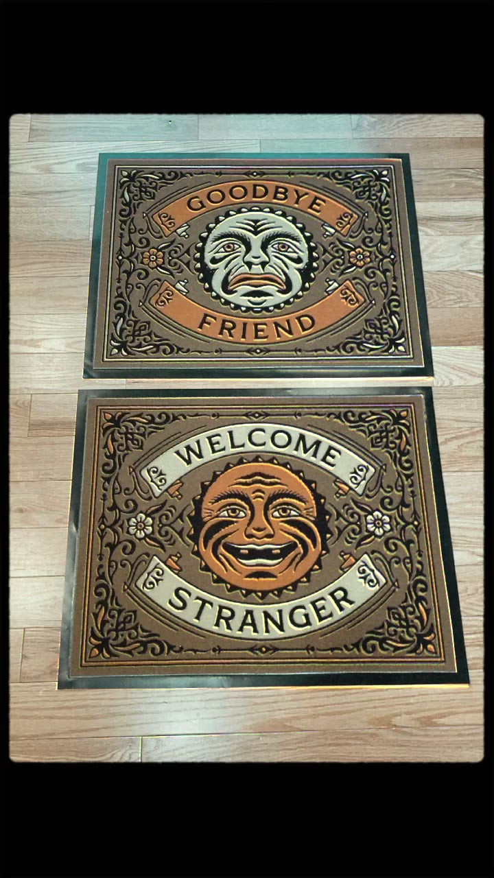 WELCOME STRANGER DOORMAT SET