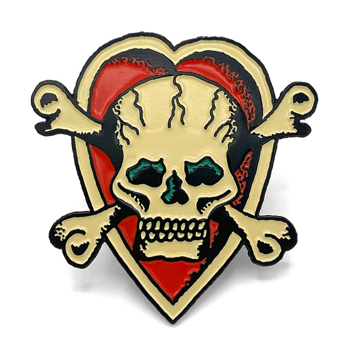 Skull and Heart Enamel Pin