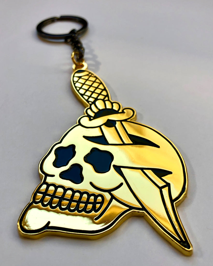Gold Dagger And Skull Keychain