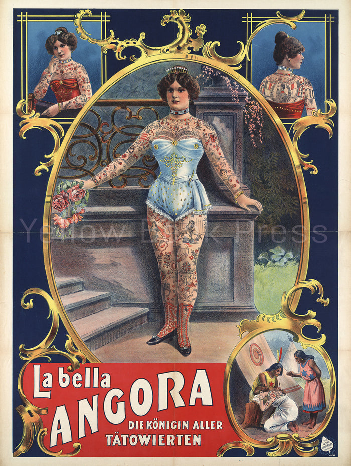 "Vintage ""La Bella Angora"" Queen of Tattooed Women Poster Print"