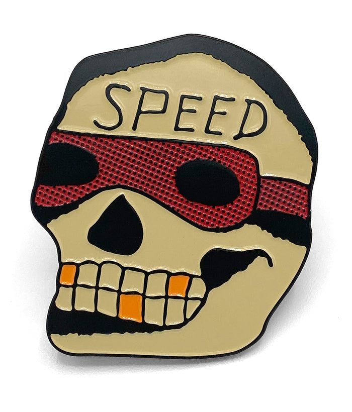 Speed Skull Enamel Pin
