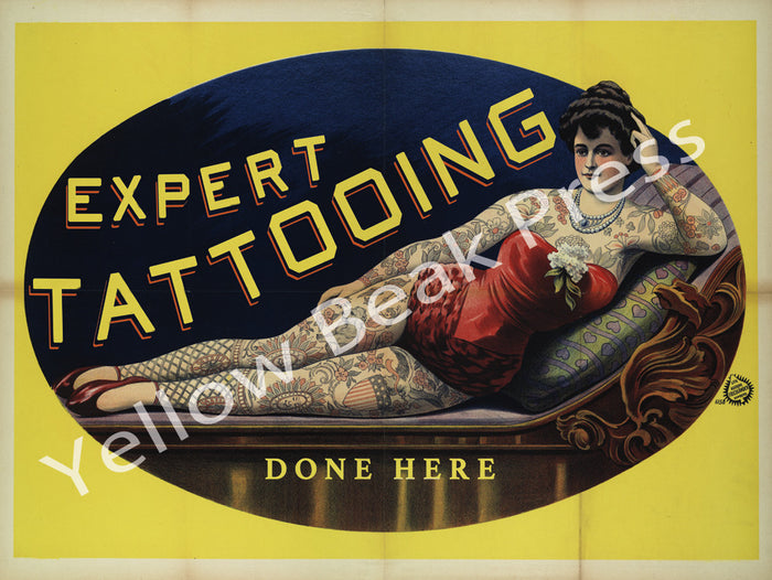 "Vintage Percy Waters ""Expert Tattooing Done Here"" Poster Print"