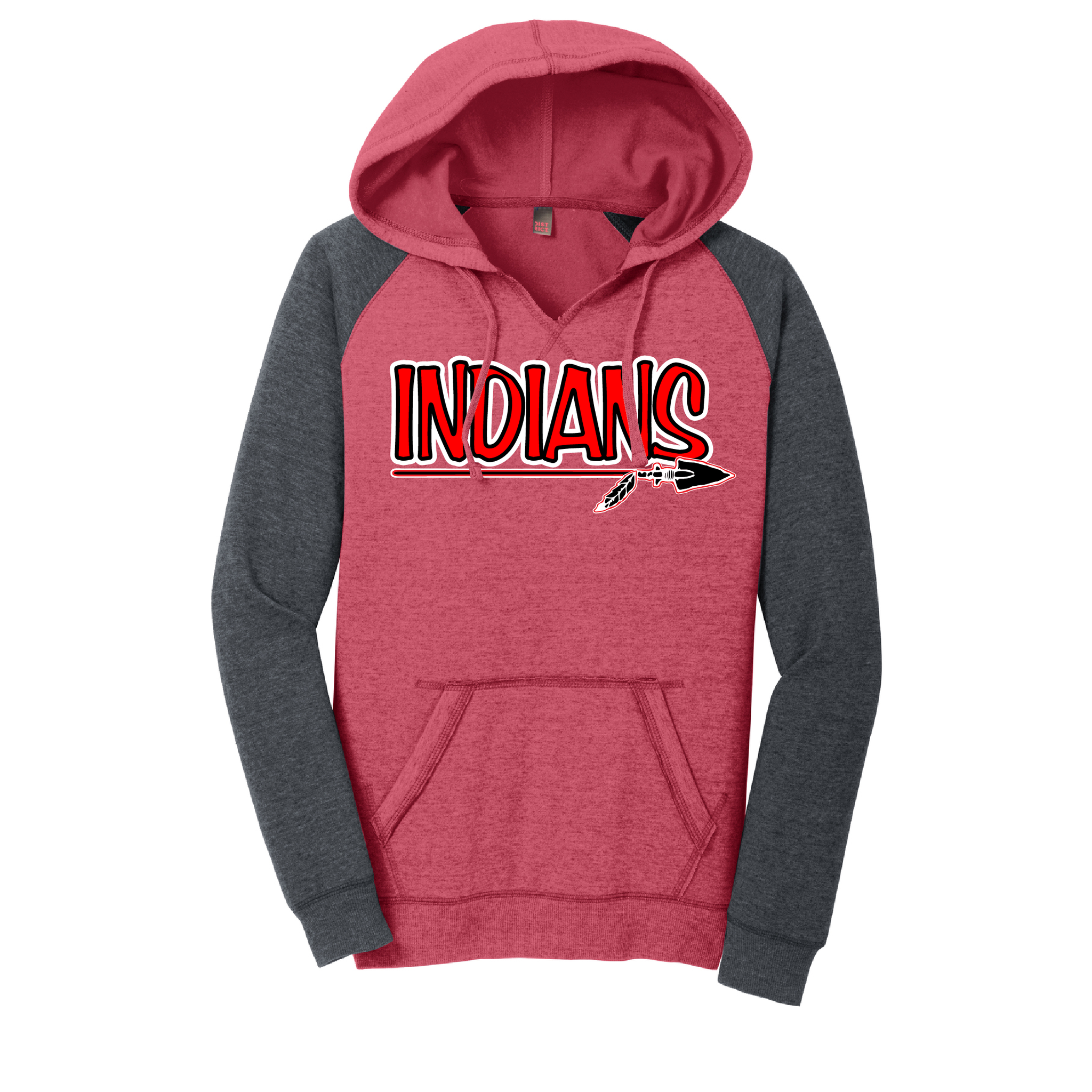 Riverside Indians Baseball Ladies Lightweight Fleece Raglan Hoodie