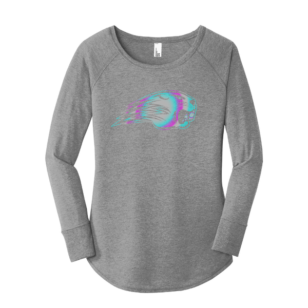 Beavercreek Beavers Ladies Rainbow Holo Tri-Blend Long Sleeve Tee