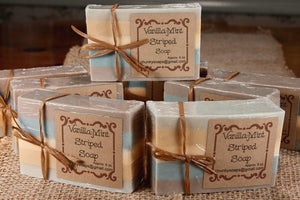 Handcrafted Vanilla-Mint Striped Soap