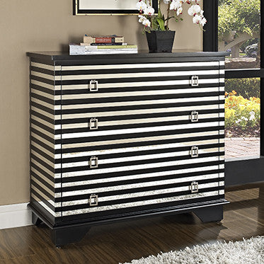 Huffman Koos Black and White Striped Dresser