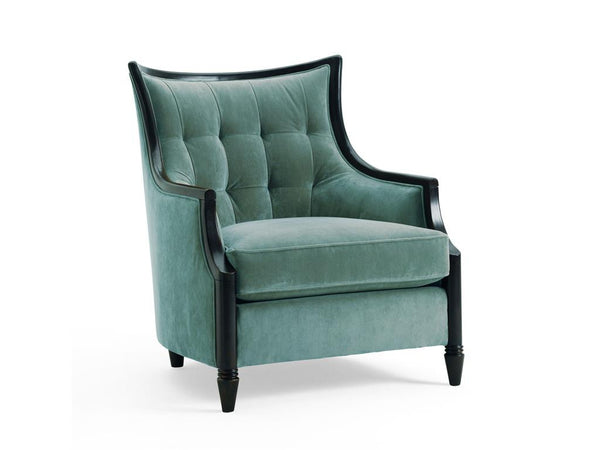 Anette Wood Trim Chair - Blue - Huffman Koos Furniture