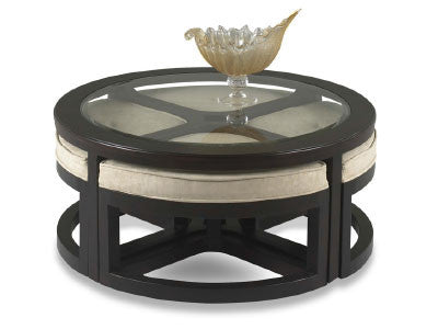 Accents, Artisian Round Cocktail Table with 4 Stools : Huffman Koos Furniture