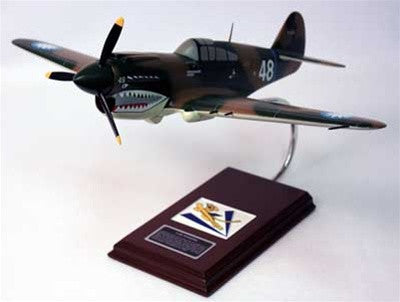 Curtiss P-40E Warhawk flown by Tex Hill 1/24 Scale Mahogany Model