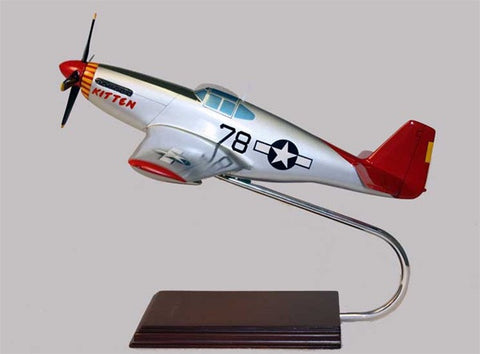 North American P-51C Mustang Tuskegee signed by Charles McGee 1/24 Scale Mahogany Model