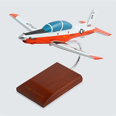 Beechcraft T-6A Texan II Navy Orange and White Mahogany Model