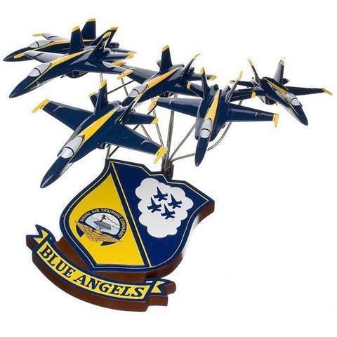 McDonnell Douglas F/A-18 Hornet Blue Angels in Formation 1/72 Scale Mahogany Model