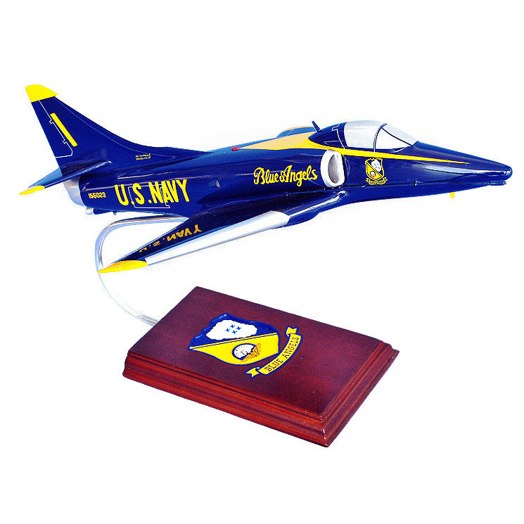 Douglas Aircraft Corp., A-4 Skyhawk Blue Angels, 1/40 Scale Mahogany Model