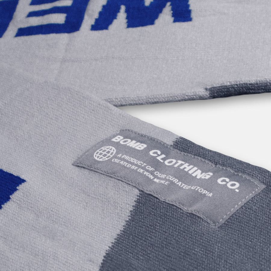 Bomb Clothing co. Label Closeup on Scarf