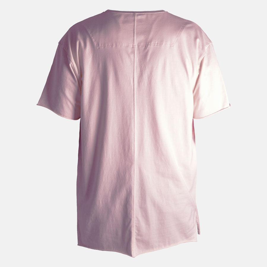 Back image of soft pink t-shirt
