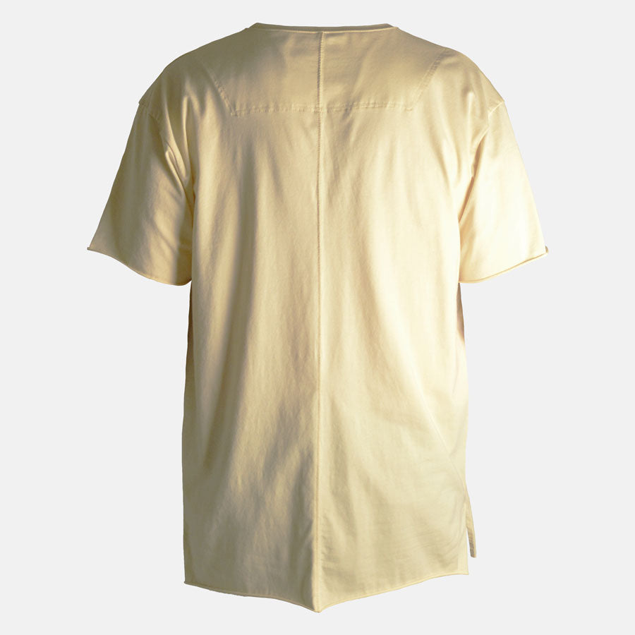 Back view of Essential tshirt in Soft Yellow by Bomb Clothing co.