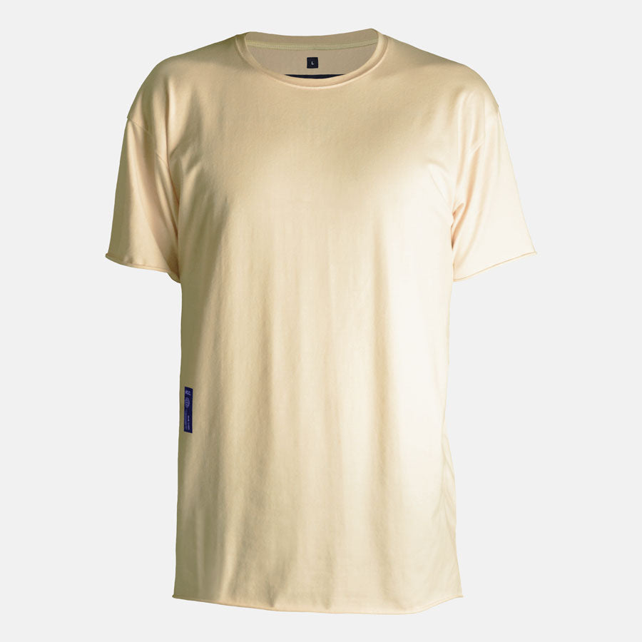 Front view of Essential tshirt in Soft Yellow by Bomb Clothing co.
